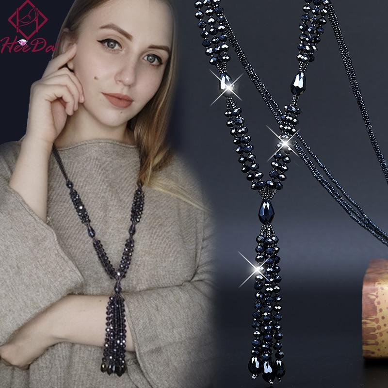 2020 Summer New Boho Shiny Crystal Beads Long Necklace Women Kpop Simple Tassel Sweater Chain Fashion Joker Lady Neck Decoration