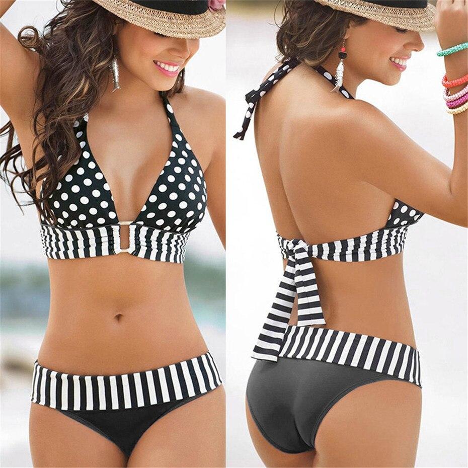 2020 New Sexy Bikinis Bandage Swimming Women Push Up Dot Swimsuit Plus Size Swimwear Women Bathing Suit Brazil Swim Beach Wear
