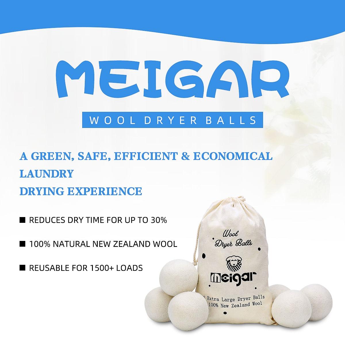 MEIGAR 6pcs/set Reusable Wool…