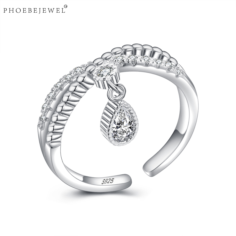 PHOEBEJEWEL 100% 925 Sterling Silver Open Dangle Rings for Women Wedding Birthday Party Fashion Jewelry Gift Bijoux