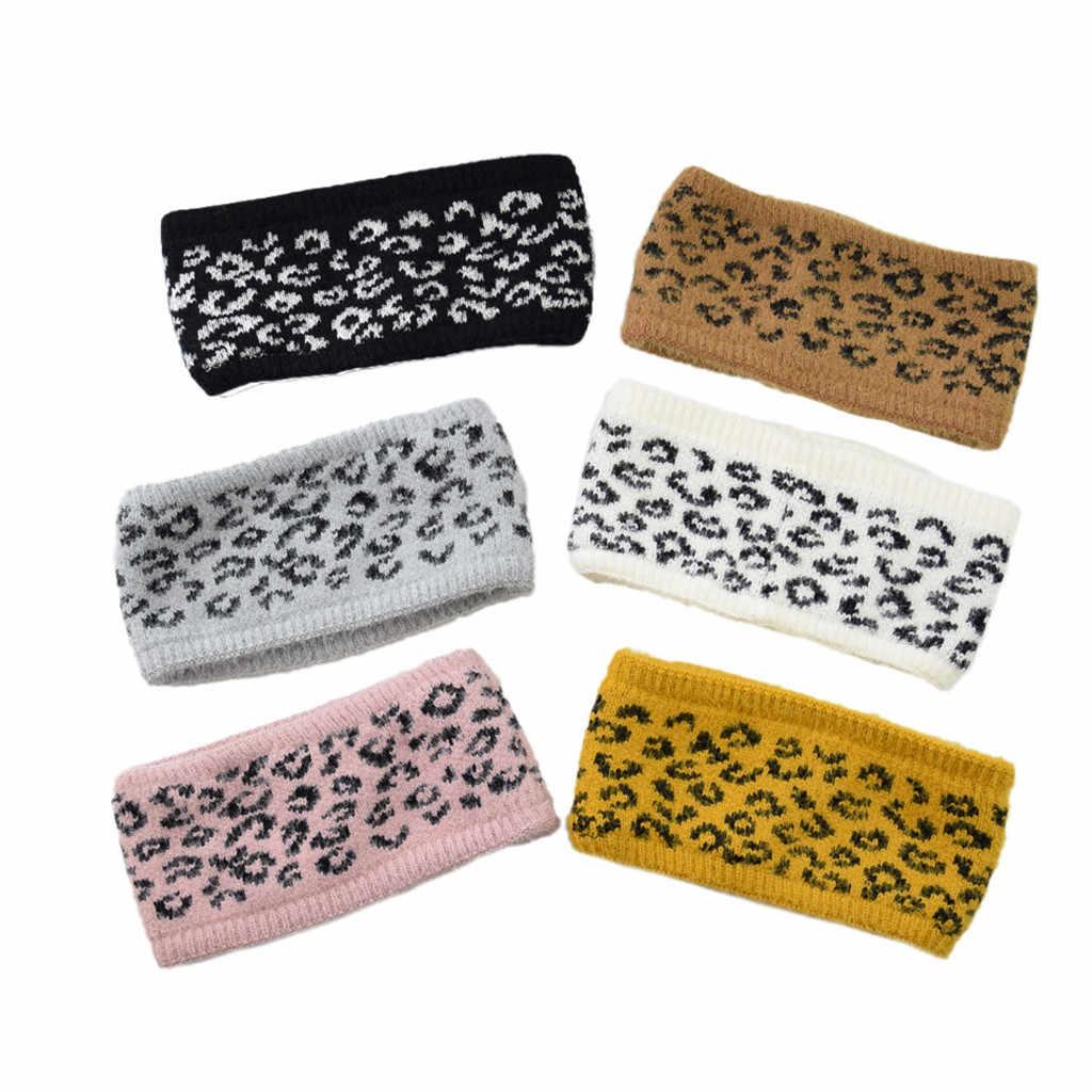 Damska leopard gruba ręcznie tkana wełna ciepła słodka dziewczyna opaska do włosów pani imitacja pałąk pogrubienie podszewka leopard-print #40