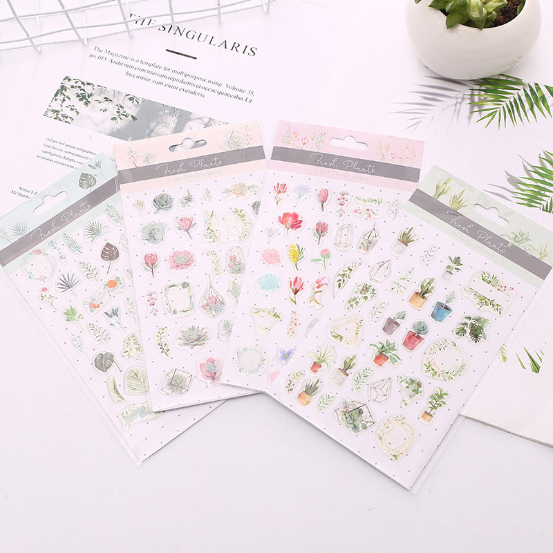6Sheets Kawaii Stationery Stickers Cute Plant Stickers Epoxy Adhesive Sticker For Kids DIY Scrapbooking Diary Albums Supplies