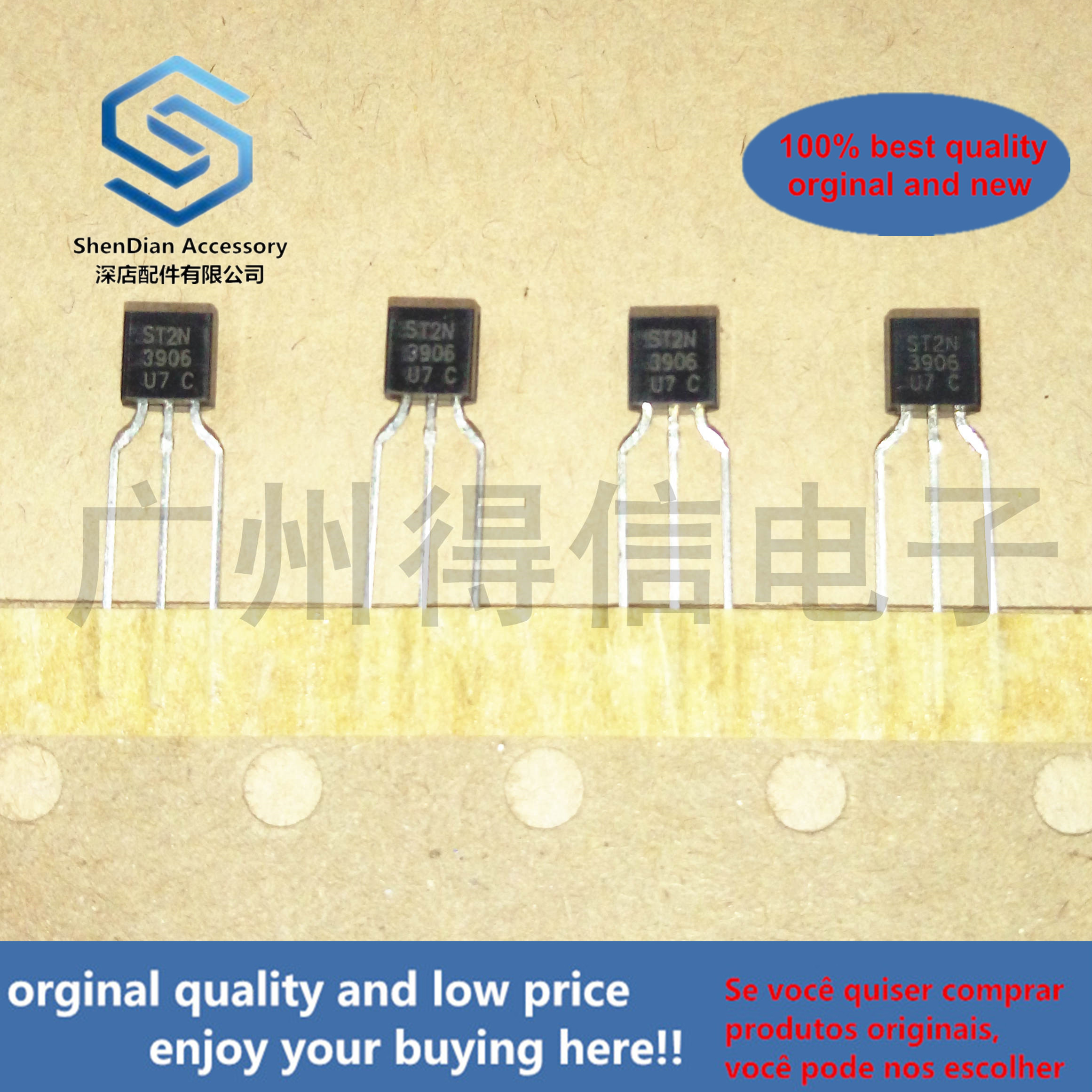 50pcs 100% Orginal New 2N3906 3906  NPN Silicon Expitaxial Planar Transistor For SwitchTriode Strip Copper Feet TO-92 Real Photo