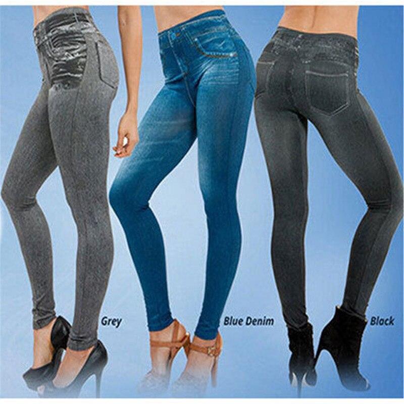 TV Shopping Fake Pocket Leggings Imitation Jeans Leggings Seamless Pants Leggings