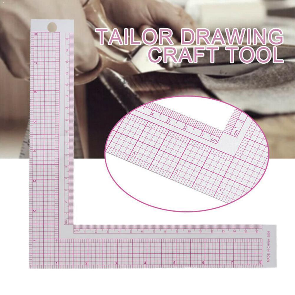 1Pc Plastic L-Square Shape Ruler French Curve Sewing Sewing Craft Measure Tailor Craft Professional Newest Ruler Tools DIY Y6K5