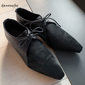 Women's genuine leather horsehair patchwork lace-up flats leisure soft omfortable pointed toe oxfords high quality spring shoes