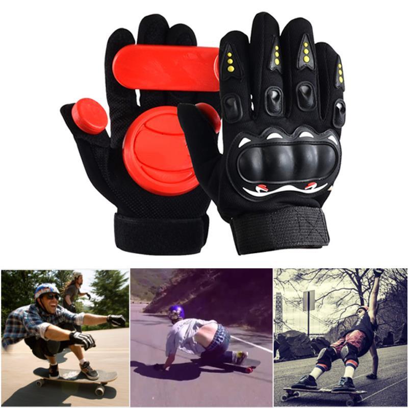 Professional Skateboard Non Slip Longboard Gloves Slider Gloves Sporting Goods Wear Resisting Racing Brakes 3 POM Black Red
