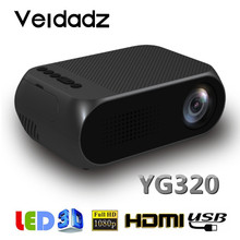 VEIDADZ LED YG320 Portable 600 Lumen 3.5mm Audio 320x240 Pixel HDMI-Compatible USB Mini Projector Home Media Play