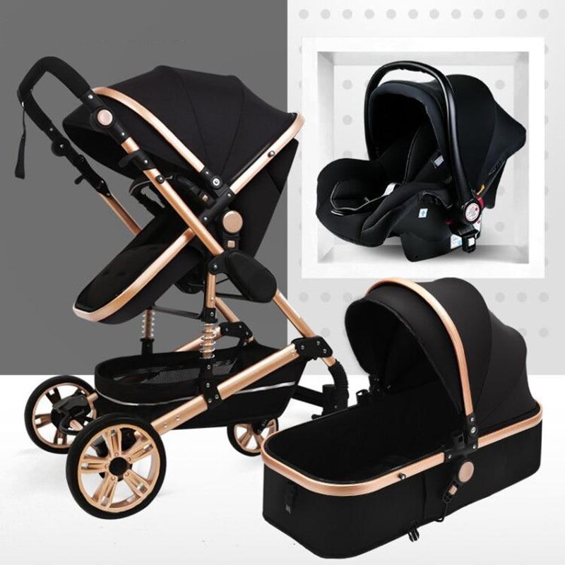 Luxury 3 In 1 Baby Stroller High Landview Infant Stroller Portable Baby Pushchair Baby Pram Baby Comfort For Newborn 0-36M