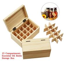 Portable Wooden Essential Oil Box 10ML 15 Compartments Bottle Storage Case Detachable Aromatherapy Bottles