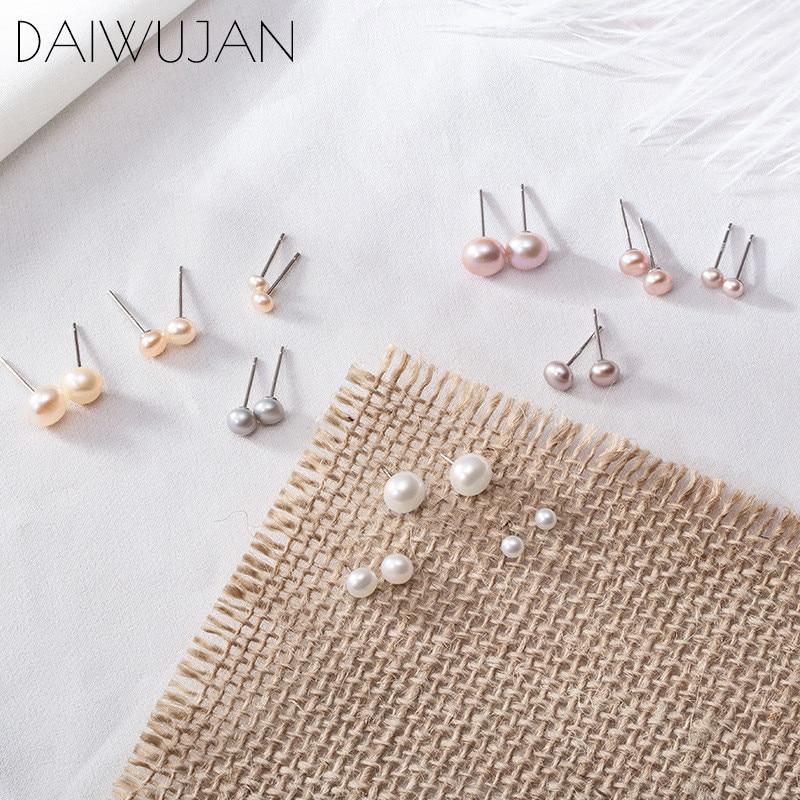 DAIWUJAN 925 Sterling Silver Pearl Stud Earring 7mm/5mm/3mm Genuine Freshwater White Purple Pearl Earrings For Women Jewelry