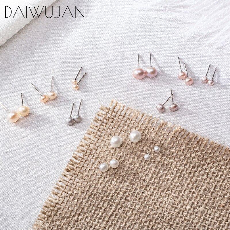 Женские жемчужные серьги гвоздики daiwujanan, серьги из серебра 925 пробы с натуральным пресноводным белым и фиолетовым жемчугом 7 мм/5 мм/3 мм, ювелирные изделия|Серьги-гвоздики|   | АлиЭкспресс