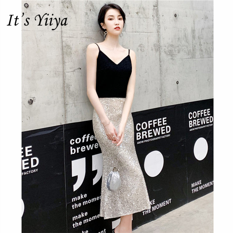 It's YiiYa Cocktail Dress Elegant V-Neck Mermaid Woman Party Dresses Sequin Spaghetti Strap Tea-Length Robe Cocktail Gowns E826