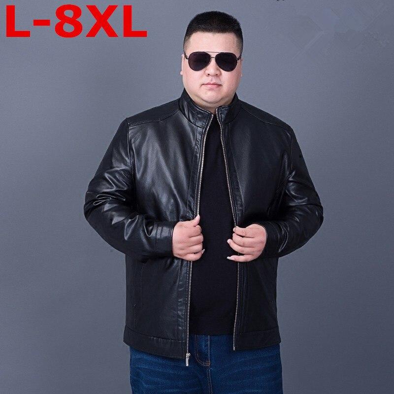 Plus Size 8XL7XL Motorcycle Leather Jackets Men ,men's Leather Jacket, Jaqueta De Couro Masculina,mens Leather Jackets,men Coats