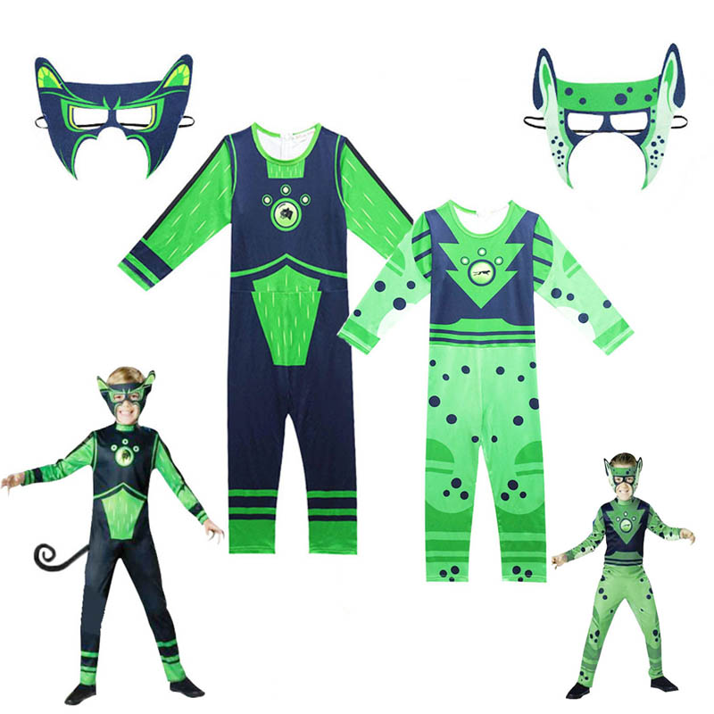 Boys Wild Kratts Cosplay Costume Creature Power Jumpsuits Fancy Carnival Party Clothes Halloween Costume For Kids With Mask
