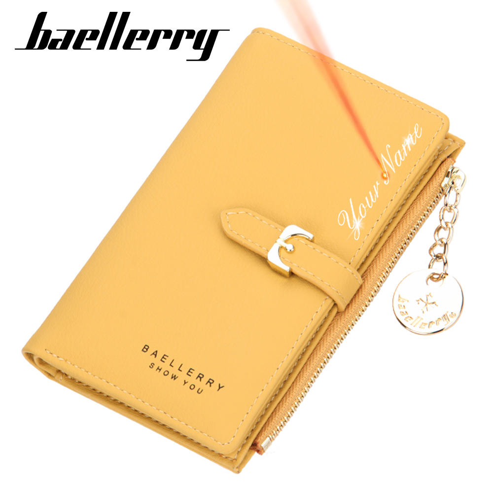 Women Wallets Female Purse Engraving Yellow Card-Holder Slim for Top-Quality Free-Name