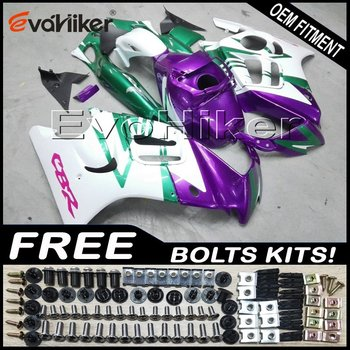 Custom motorcycle plastic cover for CBR600F3 1997-1998 ABS fairing motorcycle panels white purple green+gifts