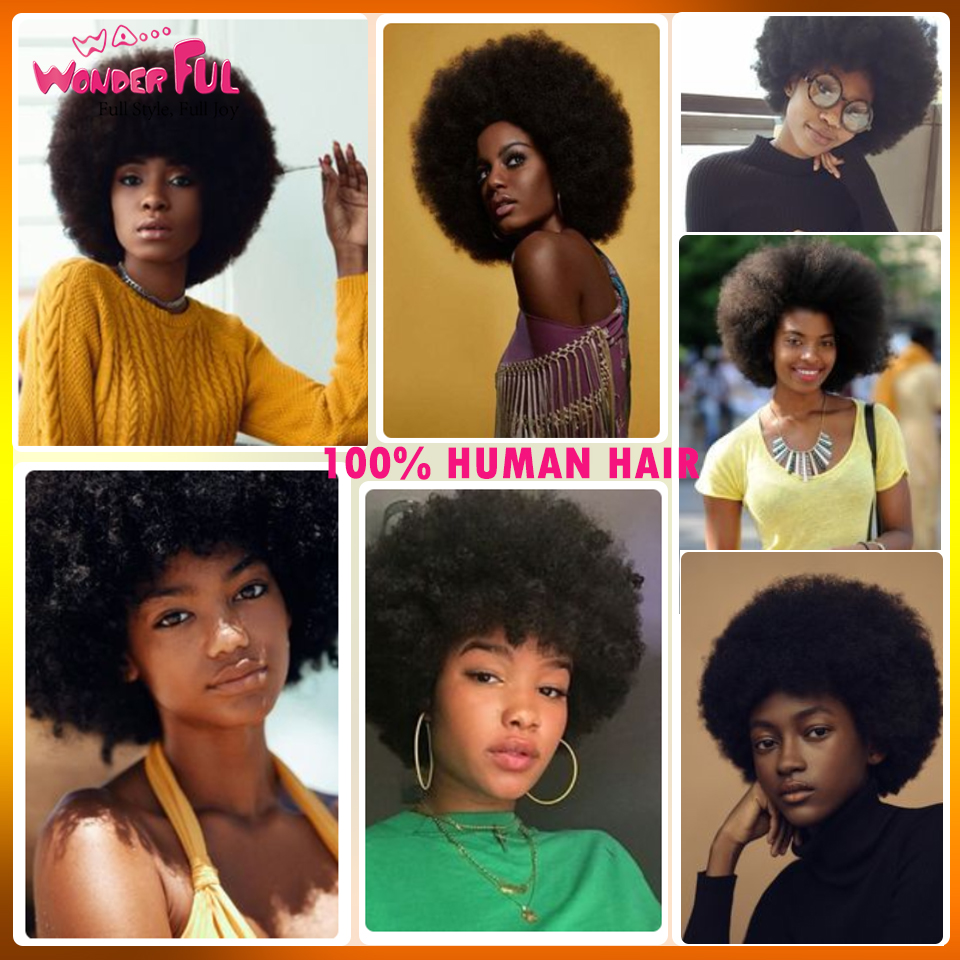 Wa...Wonderful Short Afro Kinky Curly Wig Brazilian Remy Human Hair Wigs For Black Women Black Brown Red Wine  None Lace Wig