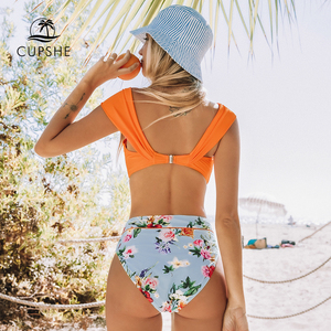 Image 2 - CUPSHE Orange Floral Twist High Waisted Bikini Sets Sexy Off Shoulder Swimsuit Two Pieces Swimwear Women 2020 Beach Bathing Suit