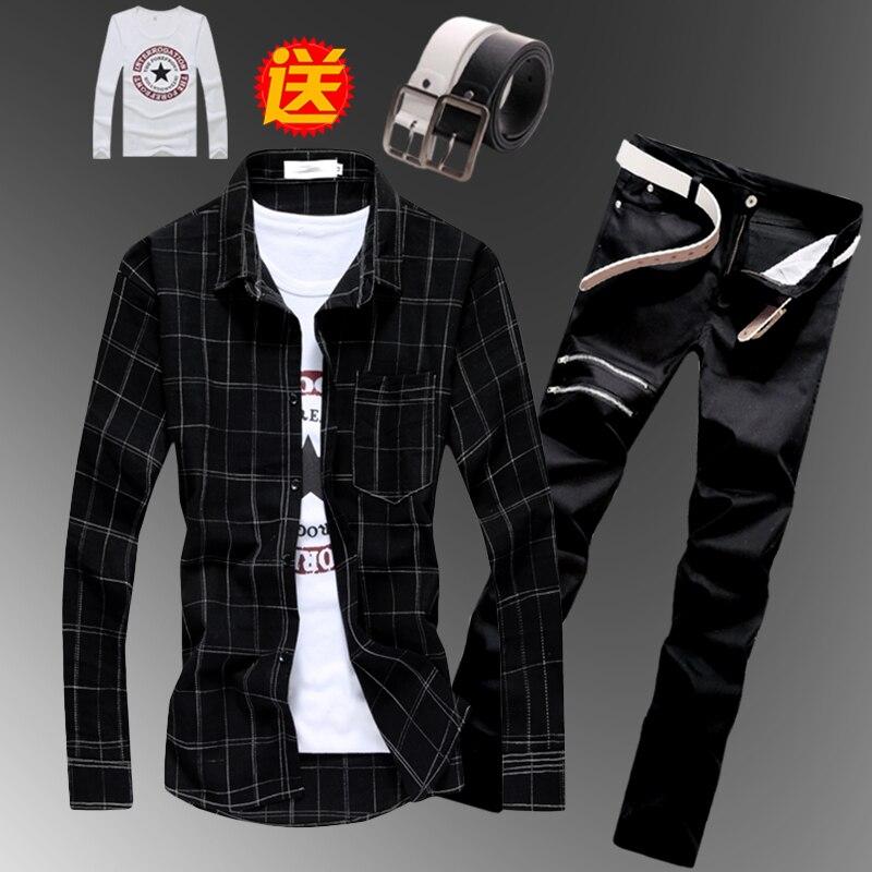 Spring Autumn Boys Mens Checks Plaids Long Sleeve Shirt Pencil Jeans Pants Korean Style Slim Fit Shirts Trousers 2pcs Set B23