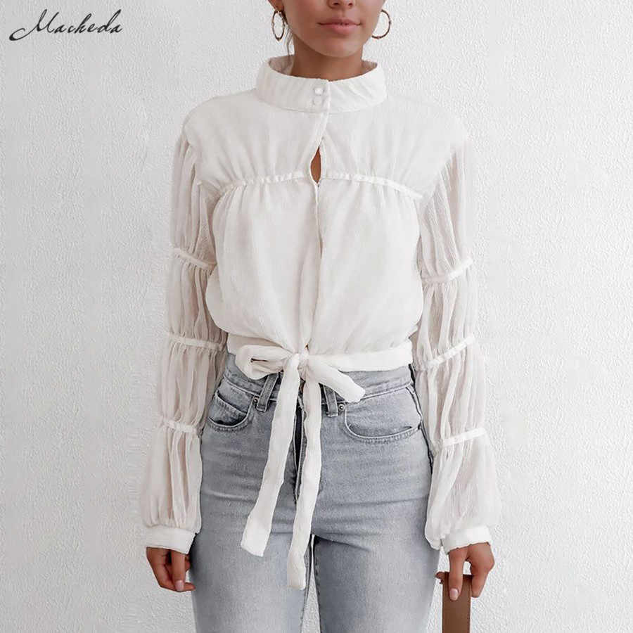 Macheda الأبيض الأزياء الوقوف طوق بلوزة النساء الدانتيل يصل قمصان عارضة 2019 الخريف السيدات فانوس الأكمام قمم جديدة