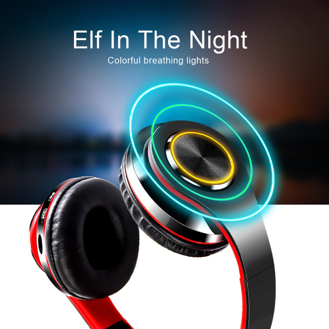 B39 LED Colorful Breathing Lights Bluetooth 5.0 Headphone Portable Folding Wireless Headset Earphone With Mic FM Support TF Card 3