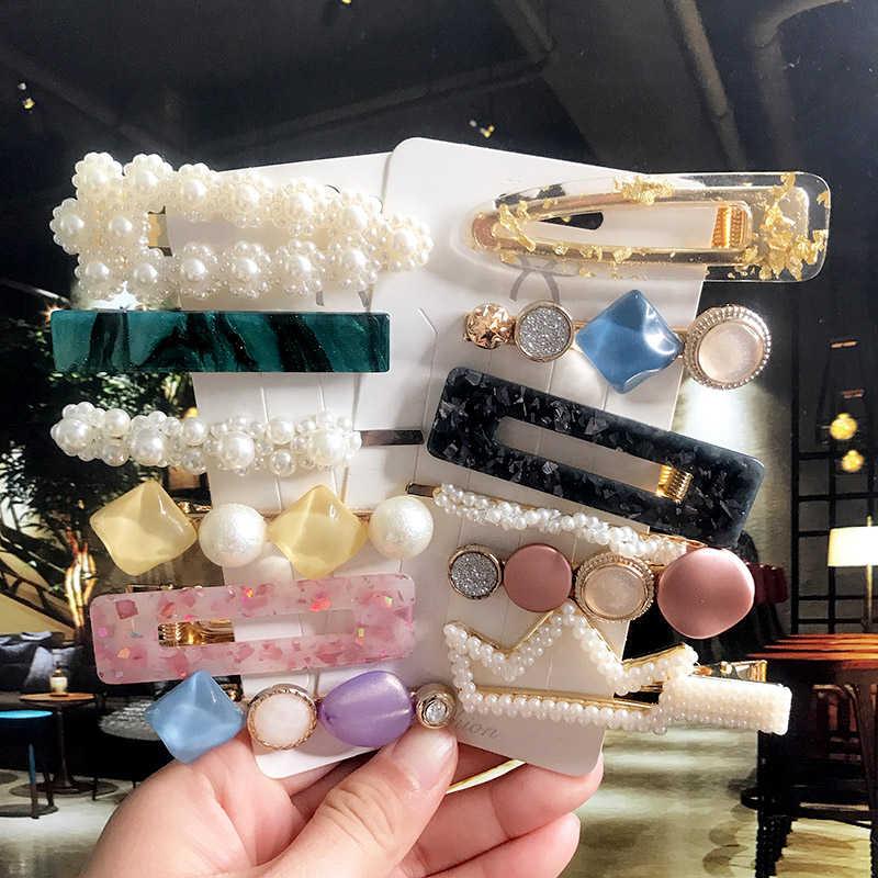 Koreański mody spinki do włosów szpilki dla kobiet akcesoria do włosów Vintage akrylowe z dziurką geometryczne Pearl Barrette zestaw dziewczyny Hairgrip 2020