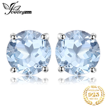 Fashion 2ct Natural stone Sky Blue Topaz Stud Earrings Round Cut Real Pure Solid 925 Sterling Silver Jewelry For Women 2015 New