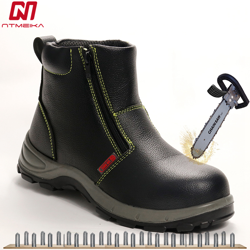 Cow Leather Men's Winter Safety Shoes With Steel Toe Large Size 36-46 Work Shoes For Men Safety Welding Shoes Puncture-Resistant