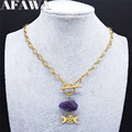 Witchcraft Pentagram Sun Moon StainlessSteel Punk Neckless Gold Color Natural Purple Crystal Necklace Jewelry collier N3515S02