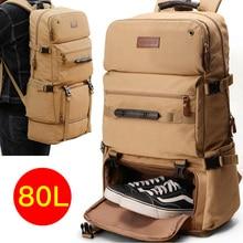 80L Large Capacity Backpack Multifunction Canvas Luggage Backpacks Men Travel Pack Bag Moutaineering Package Bags Vintage XA75C