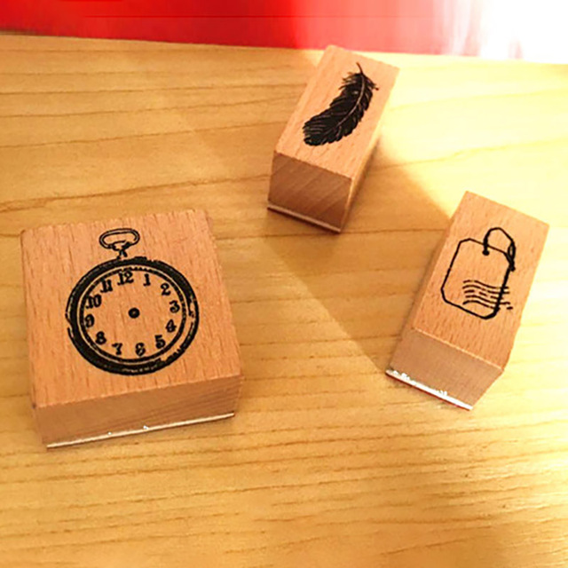 Diary Decorate 1Pcs for Scrapbooking Clock/Feather/Label DIY Stamp Multi Purpose Nice Gift Stationery Vintage Wooden Seal