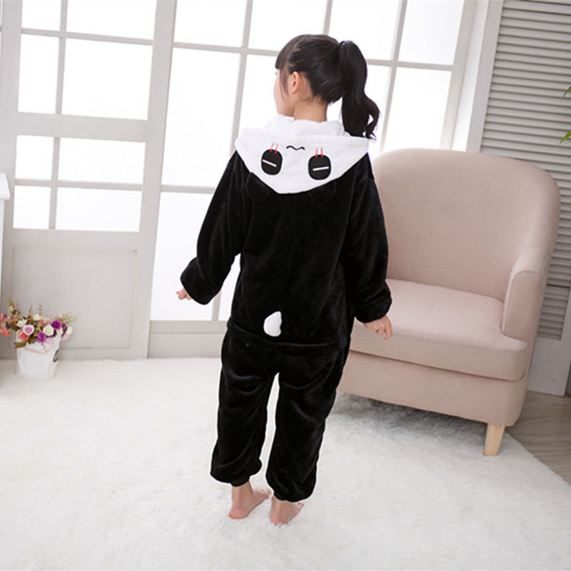 One-piece New Style Flannel Panda-Cartoon Animal Children One-piece Pajama Toilet Edition Parent And Child Home Pajama