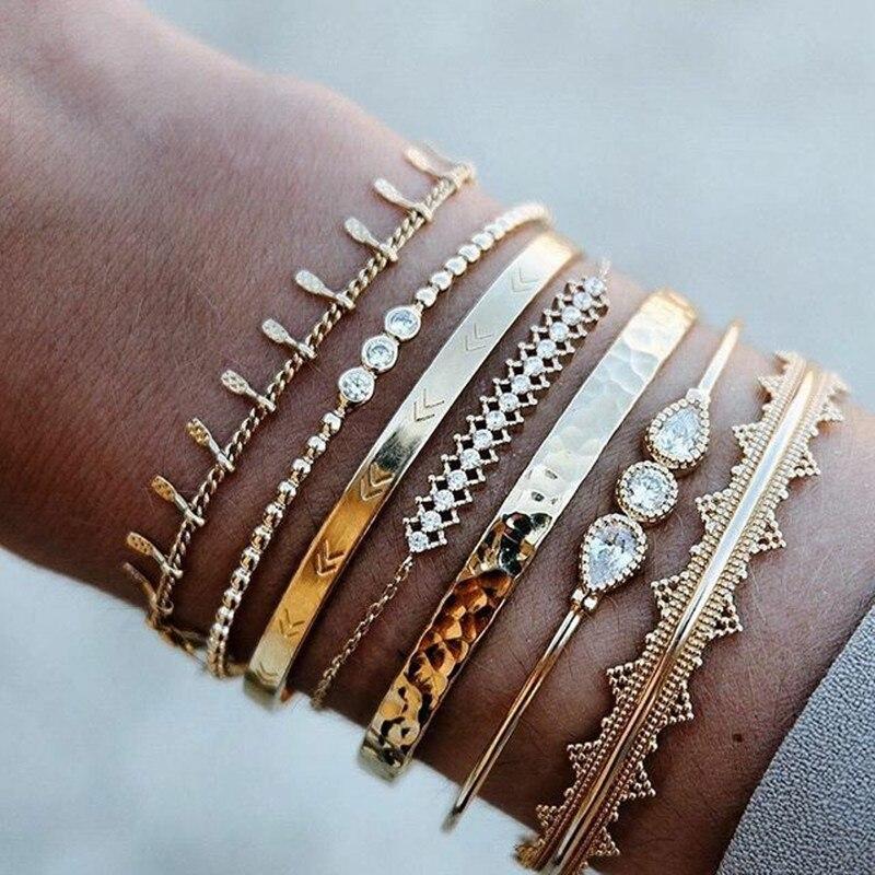 UODCM 7Pcs/Set Ethnic Gold Color Cuff Bangle Set Arrow Rhinestone Triangle Charm Bracelet Bangle Women Bohemian Vintage Jewelry