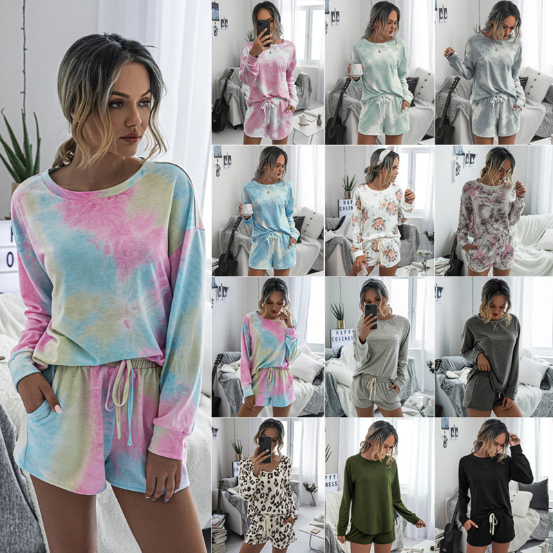 New Women Dye Print Ladies Fashion Home Night Soft Female Pajamas Set Sleepwear Shorts Casual Summer Long Sleeve Tops Loungewear