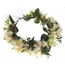 Wholesale Rose Flowers Crown Festival Headband Women Hair Accessories Headdress Bridesmaid Girl Floral Garland Wedding Headwear