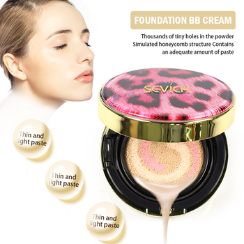 Sevich, cabeza de estampado de leopardo, esponja de crema CC, base hidratante, maquillaje abrillantador Natural, crema BB, Color marfil Natural