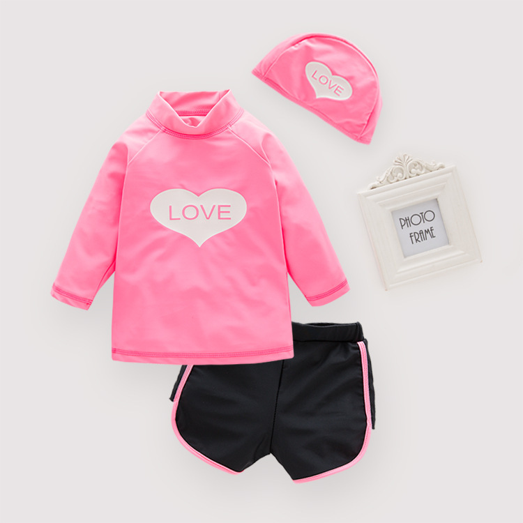 Children KID'S Swimwear Girls' Two-piece Swimsuit Peach Heart Swimwear Beach Coat With Swim Cap 3 Pieces