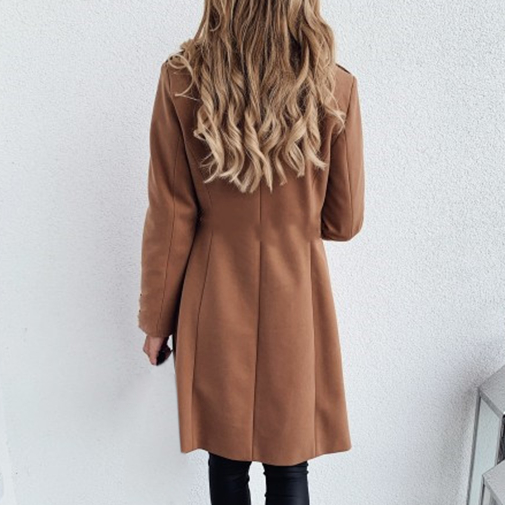 2019 Solid Women Wool Blend Coat Ladies Collar Double Breasted Long Sleeve Coat Autumn Winter Casual Slim Long Coat Jackets