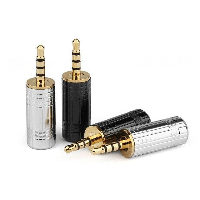 Conector de Audio Jack de 2,5mm conector de auriculares de 4 polos estéreo HiFi conector de Línea alámbrica de soldadura de Metal 20 piezas adaptador de cobre chapado en oro