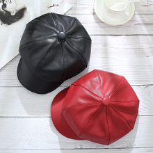Beret WOMEN'S Autumn And Winter Japanese-style Versatile Net Red Soft Sister Leather Cap PU Leather British-Style Retro INS Octa(China)