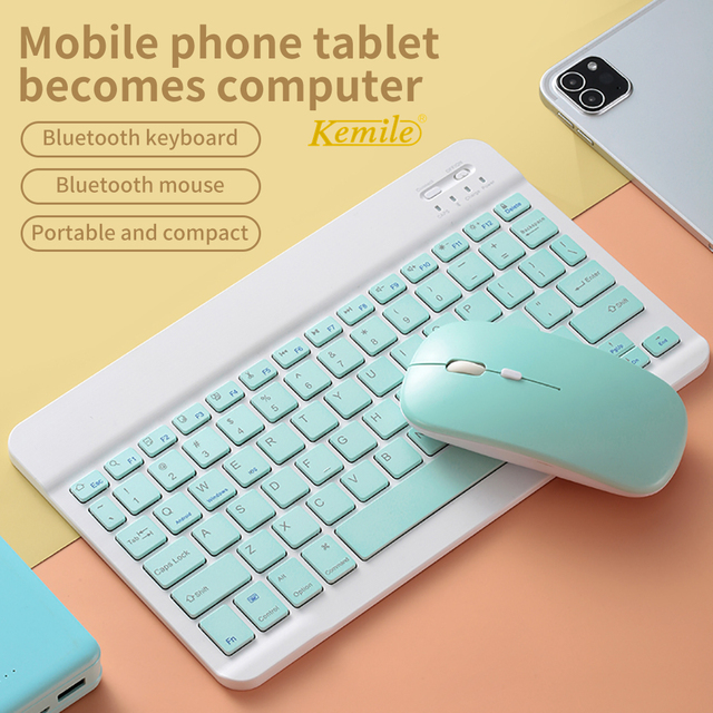 Colorful Russian Spanish Keyboard mouse For Samsung Android Tablet For iPad 9.7 10.5 For samsung tablet Bluetooth mouse Keyboard