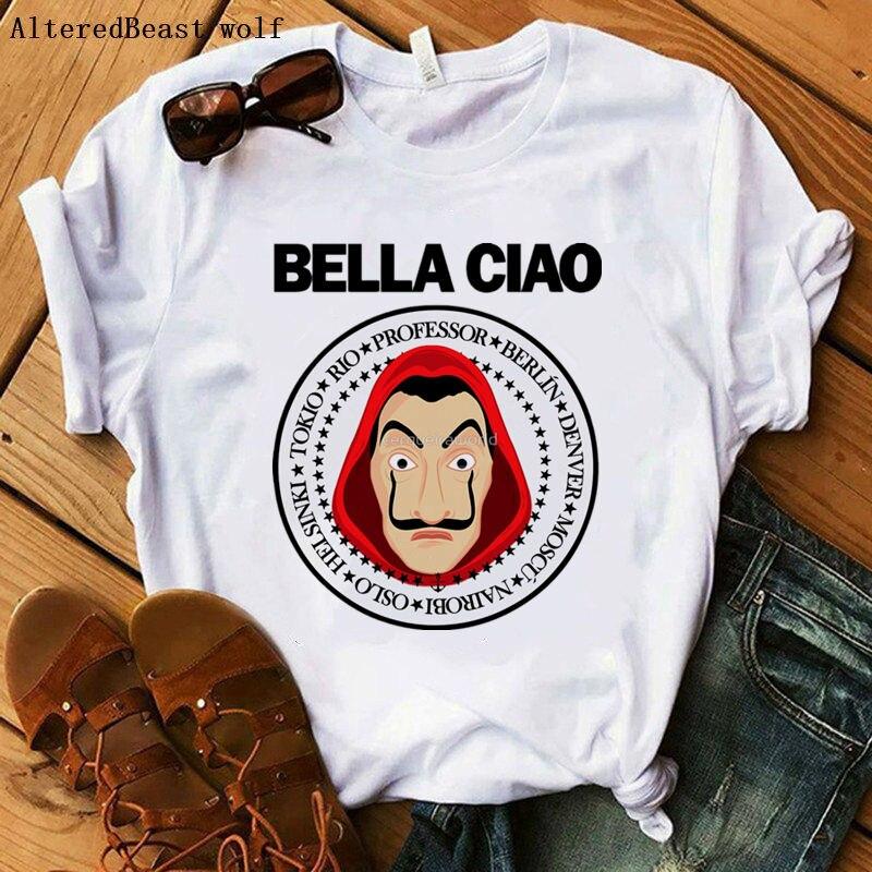 La casa de papel 2020 bella ciao impressão tshirt a casa de papel engraçado t camisa dinheiro assalto feminino topos vogue casual verão camisetas