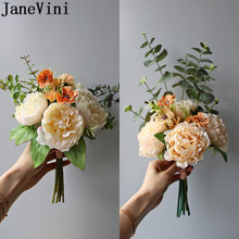 JaneVini Champagne Peonies Bridemaid Flower Small Wedding Bouquet for Bride Flower Girls Ramo Peonias Artificial Brooch Bouquets
