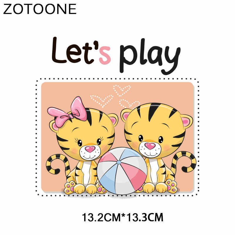 ZOTOONE Nette Tiger Ente Herz Patch Blume Aufkleber Eisen auf Transfers für Kleidung T-shirt Zubehör Applique DIY Wärme Transfer G