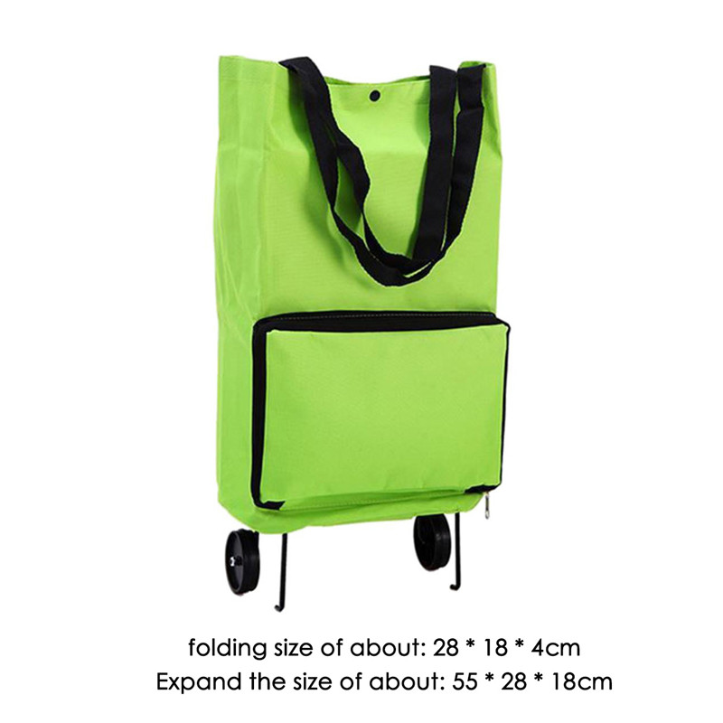 VOGVIGO Portable Shopping Trolley Bag With Wheels Foldable Cart Roll Grocery Green Shopping Bag Folding Handbags Shopping Bag