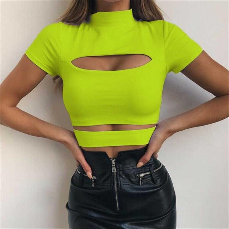 ファッション女性カジュアルセクシーな胸中空アウトクロップトップ固体セクシーな女性スリムタンクトップ tシャツシャツ