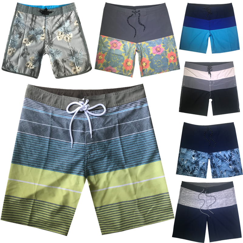 2019 Summer Floral Striped   Shorts   Elastic Fabric Striped Men   Board     Shorts   Swimwear Men Beach   Shorts   Men Beach   Shorts   Boardshorts