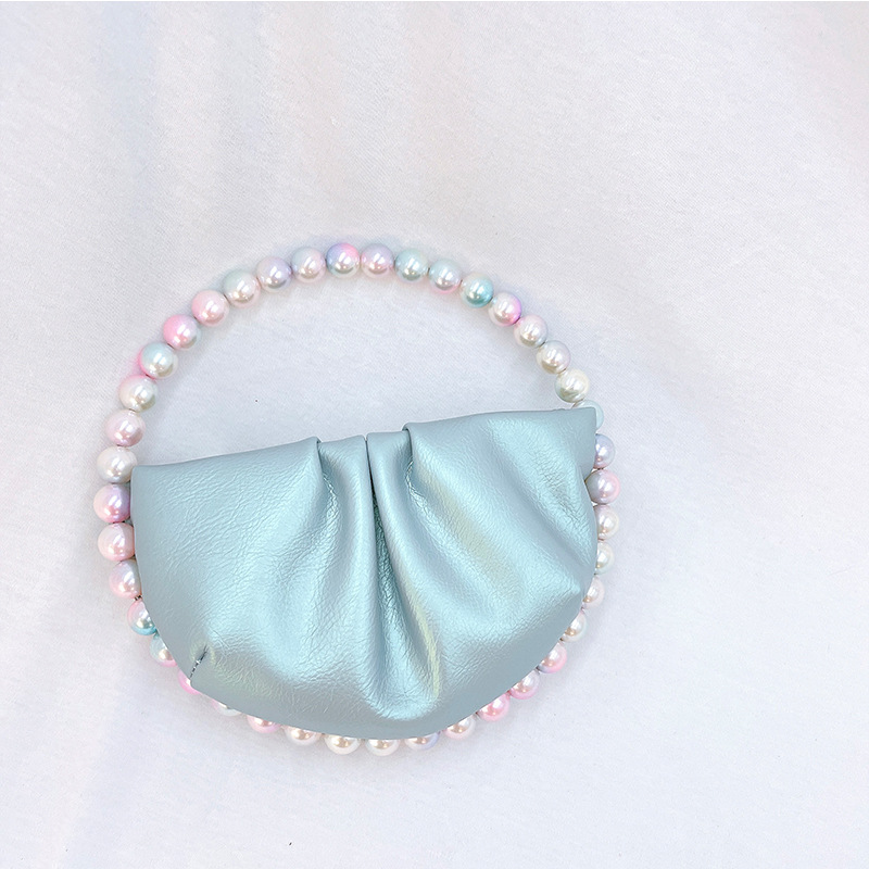 Women Ins Pearl Circular Evening Bag Women Round Handle Pu Dinner Clutch Purse Ladies Half Moon Handbag Purse-BeeInFly