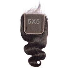 Faashow 5x5 fechamento brasileiro do cabelo maior do que 4x4 com o cabelo do bebê mão amarrado onda do corpo natural remy fechamento do laço superior do cabelo humano